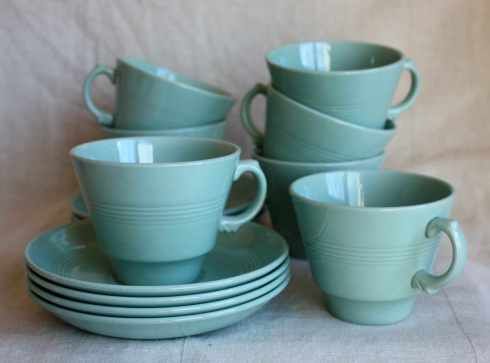 wood's ware teacups and saucers