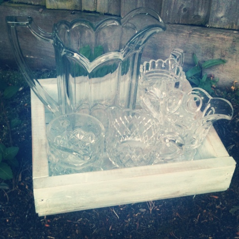 A small selection of pressed glass cream jugs and a fantastic pitcher {found just this week}