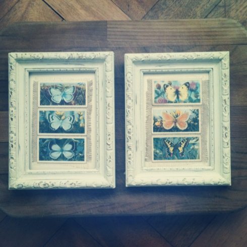 Vintage Brooke Bond tea butterfly cards in hand painted frames.