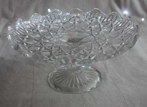 Pretty fluted pressed glass cake stand