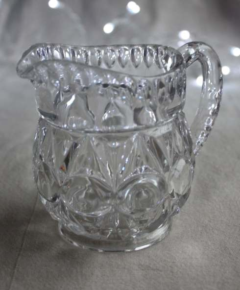 Pressed glass cream jug