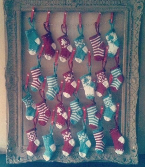 Homemade advent stockings