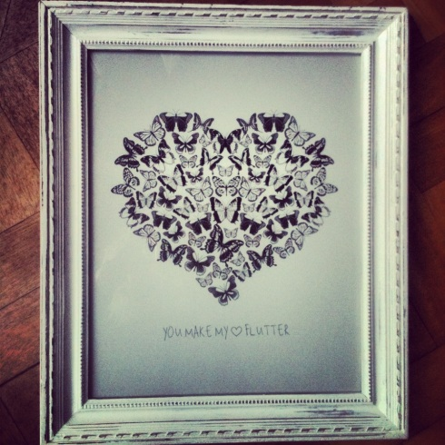 'You Make my Heart Flutter' print in hand painted vintage frame