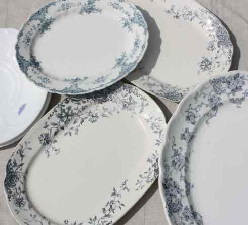 Blue and white platters including 2 Adderley Bone China 'Blue Chelsea' cake plates