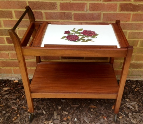Vintage solid teak tea trolley with detachable rose-design tray