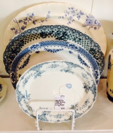 blue platters display