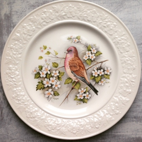 Vintage English Ironstone bird design plate