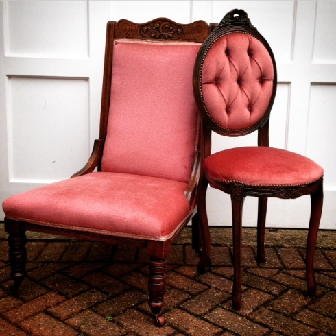 Two vintage chairs furnished in beautifully sumptuous dusky pink velvet